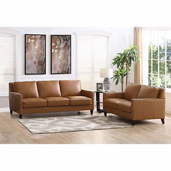 Parkdale Brown Top Grain Leather Sofa And Loveseat