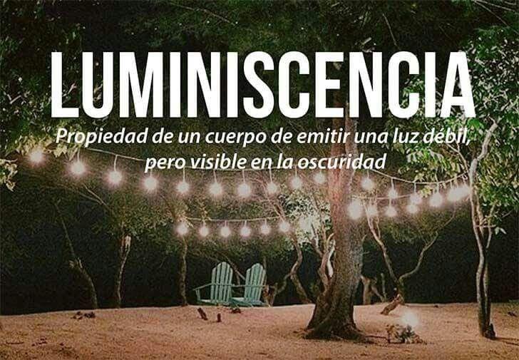Luminiscencia: propiedad de un cuerpo de emitir una luz dèbil, pero visible en la oscuridad.