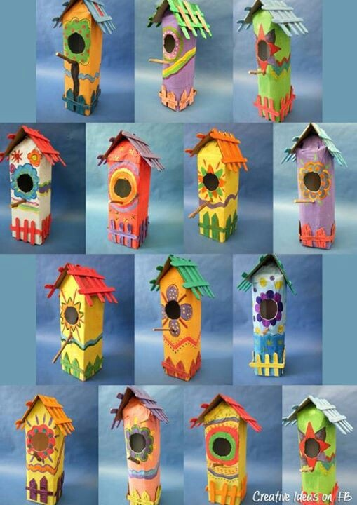 Milk carton bird boxes