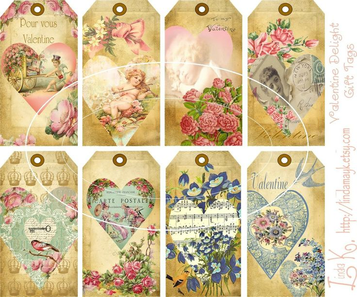 Collage SheetValentine Delight Gift Tags by lindakdesign on Etsy