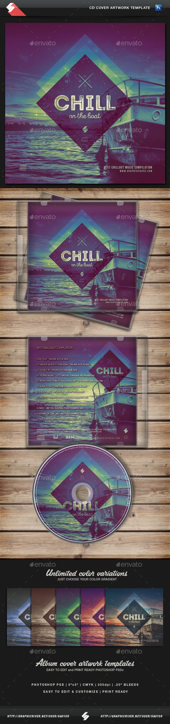 Chill On The Boat - Music CD Cover Template — Photoshop PSD #cd #cover • Available here → https://graphicriver.net/item/chill-on-the-boat-music-cd-cover-template/13282067?ref=pxcr