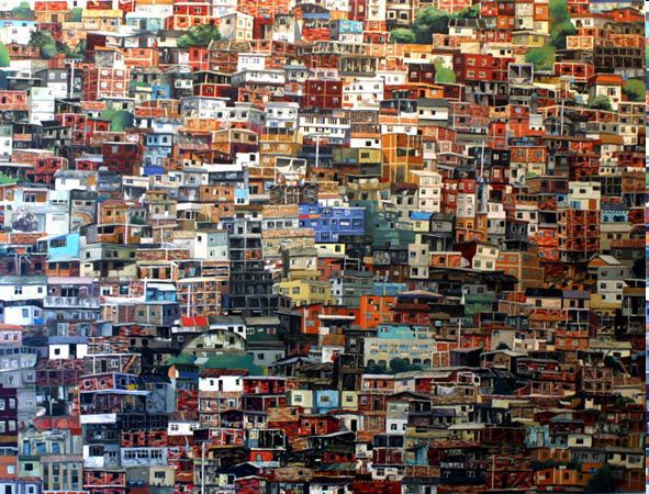 Sao Paulo, Brazil -- Colorful slums create a seemingly picturesque composition of the quickly adapting society.
