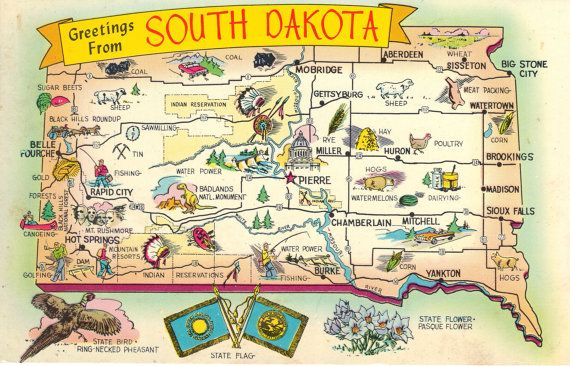 State Map Postcard South Dakota Greetings – South Dakota Tourist Map