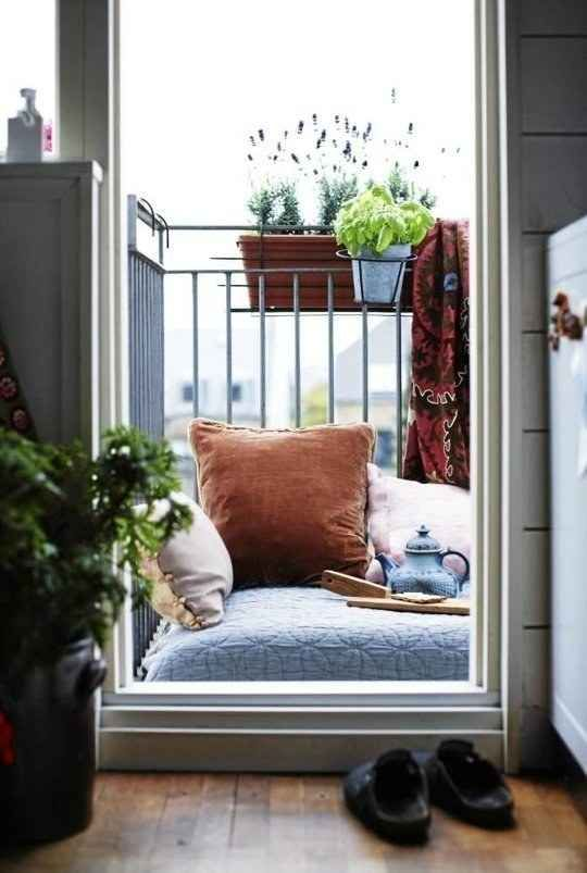 If you're space is seriously mini, consider just turning the whole thing into a cozy outdoor chair…