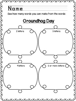 Classroom Freebies Too: Groundhog Day: How Many Words?