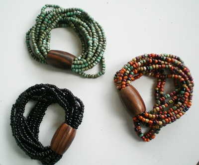 wood and bead bracelet
