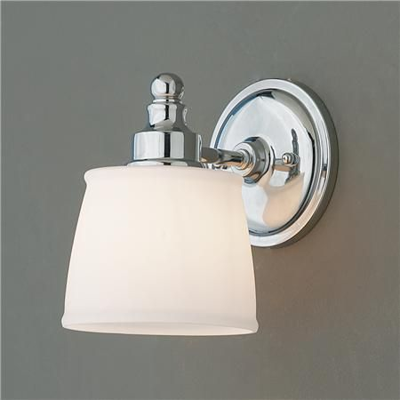 "ByGone Classic Bath Light - 1 light  A clean, updated take on a classic design. You can't go wrong with this vintage inspired bath light with white frosted glass shade inspired by a vintage schoolhouse light. Chrome hardware is simple and never overdone. The perfect light for modern to traditional bathrooms.  100 watts. (medium base socket)  (9""Hx5.5""Wx7.5""D)  5"" round backplate  $69"