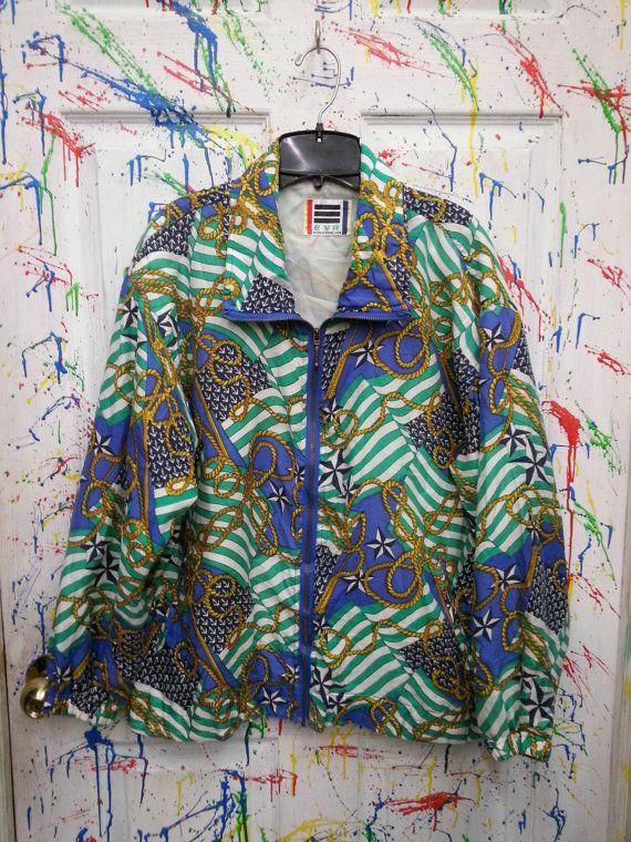 Vintage 80's windbreaker zip up jacket for both men and women size Medium Large Blue Yellow Green Nautical Motif by RagsAGoGo, $28.00