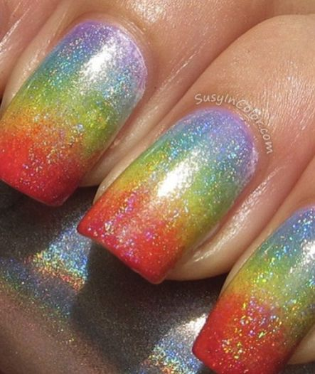 rainbow ombre holographic nail art