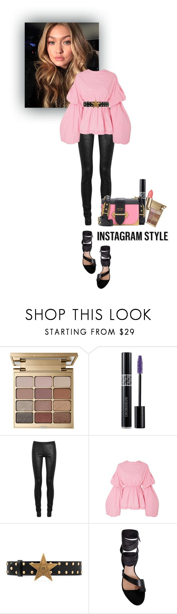 """SELFIE"" by gizaboudib on Polyvore featuring moda, Stila, Christian Dior, Rick Owens, Gucci, Ginger & Smart, Prada, 60secondstyle y PVShareYourStyle"