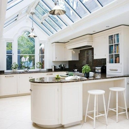 gabled conservatory extension here a linking conservatory joins an outbuilding to the main property via a light and airy kitchen a gable window provides - Kitchen Roof Design