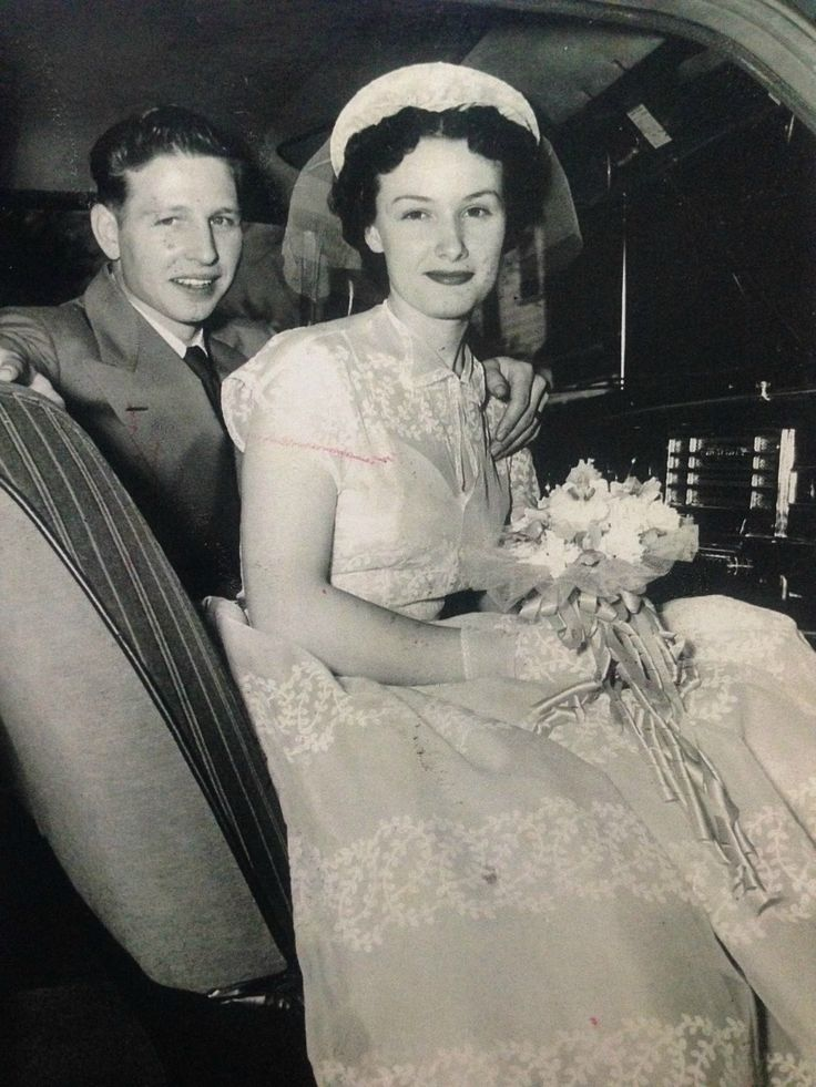 """My mema and grandpa on their wedding day in the early 50s. She made her dress. It was yellow."" - TaleaRL/Reddit"