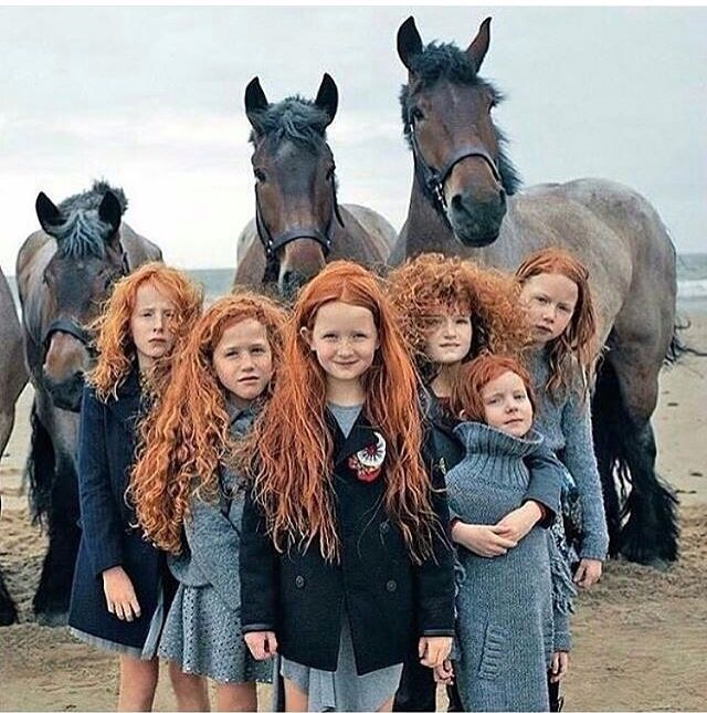 I wish these were my children... They are so beautiful! The hair and horses. . .perfect