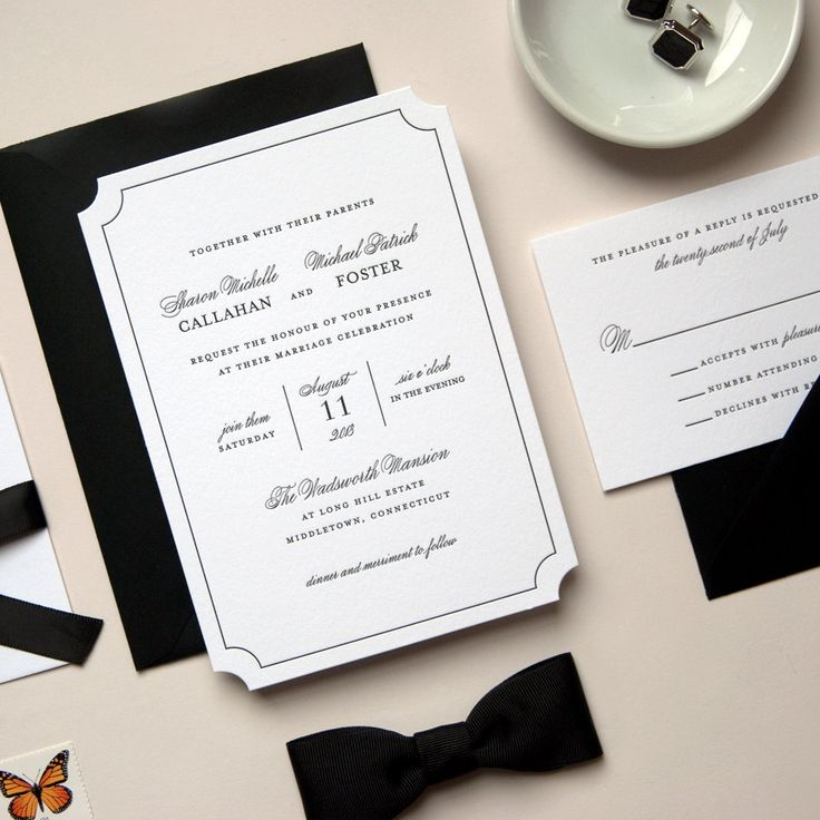 Elegant Black and White Die Cut Letterpress Wedding Invitation -- Sample -- Soirée (FREE SHIPPING). $7.50, via Etsy.