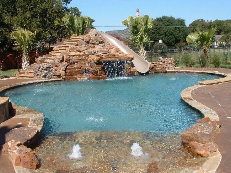 Simple Backyard Pool With Slides Slide Inside Design Inspiration