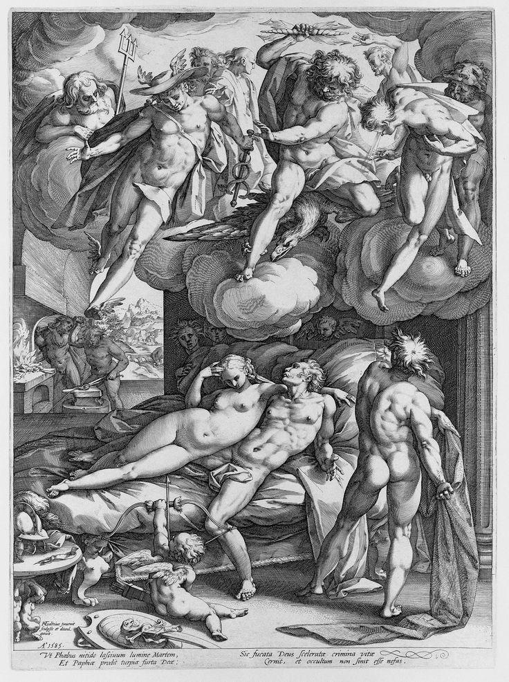 Hendrick Goltzius | Venus en Mars betrapt door Vulcanus, Hendrick Goltzius, 1585 | Vulcanus staat klaar om zijn overspelige vrouw Venus en haar minnaar Mars te vangen in een zelfgesmeed net. Een schare van mannelijke goden kijkt vanuit de hemel toe. Links op de achtergrond is te zien hoe Vulcanus zijn net vervaardigt. Onder de voorstelling vier regels Latijn.