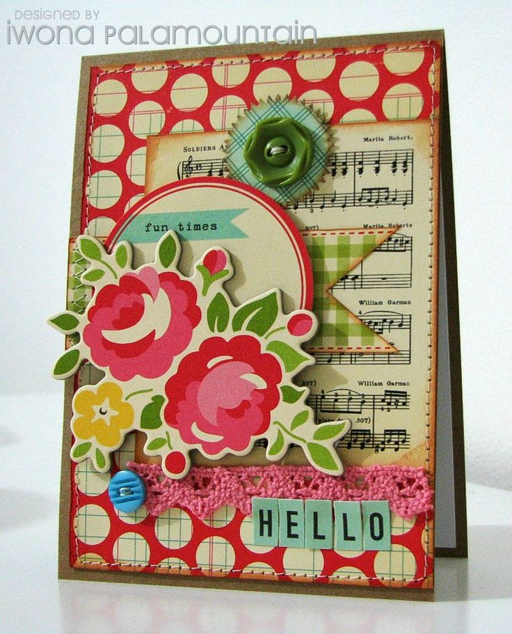 Love this cute card for the choice of papers.  A song sheet, polka dots, and cheery flowers in yummy pinks!