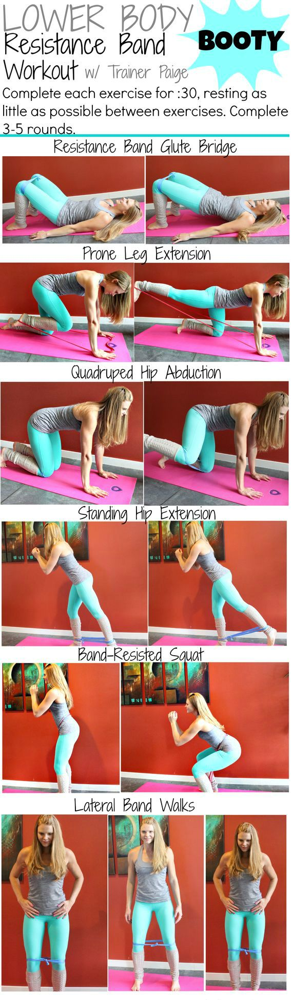 Resistance band workout to get strong legs, butt and core. These exercises will…