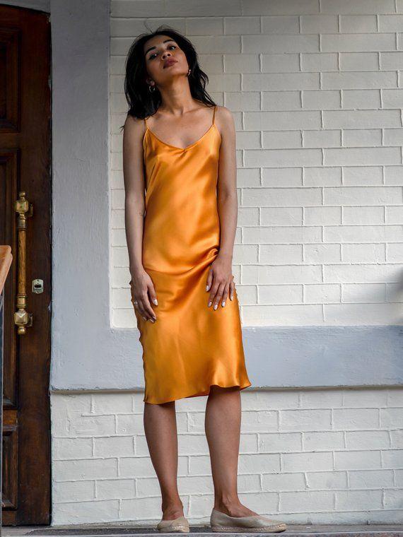 453ff83509c Bias silk slip dress amber Yellow slip dress Pure silk camisole Silk chemise  Satin silk Thin straps