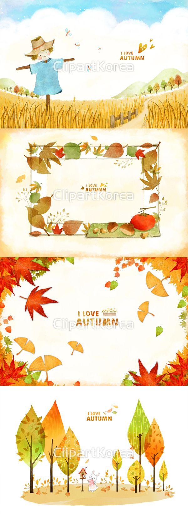 가을 고추잠자리 구름 나무 논밭 단풍 들판 백그라운드 벼 산 일러스트 잠자리 카피스페이스 페인터 풍경 허수아비 단풍잎 일러스트레이션…
