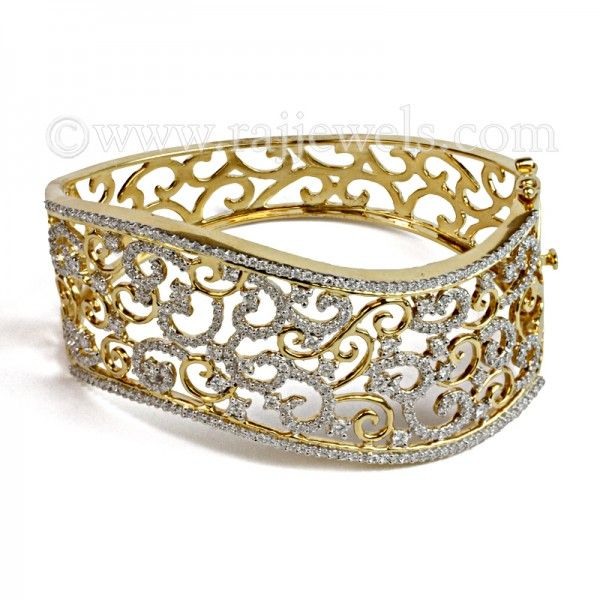 Gravia Diamond Bangle Bracelet | Add this bracelet from one of the hottest trends this season to your new years wardrobe! Diamond bangle bracelet in italian design constructed in 18 karat gold: containing an astonishing 343 diamonds. Not only is this piece stunning its also certified! Check it out at : https://www.rajjewels.com/wine-diamond-bangle-bracelet.html