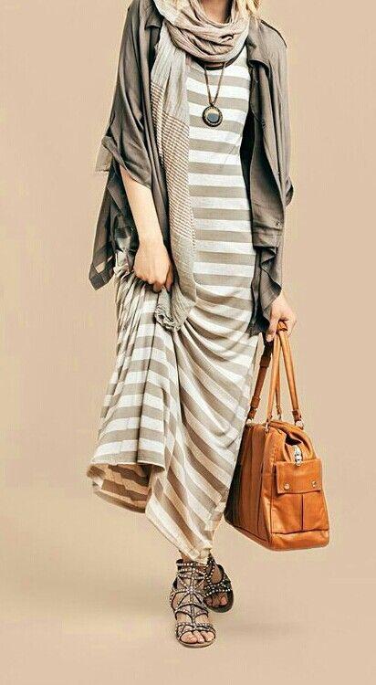 #hijab maxi dress long cardigan i love the colors