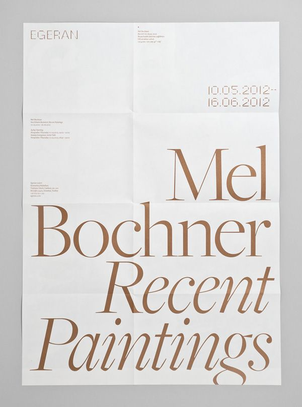 Print with copper spot colour designed by Project Projects for conceptual art gallery Egeran.