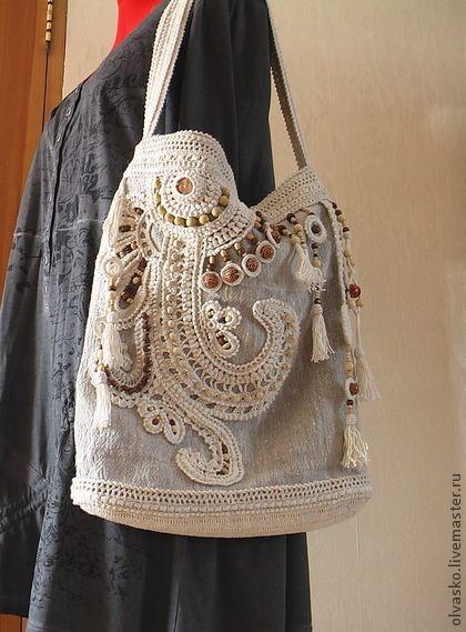 Летняя сумка в стиле бохо - бежевый,абстрактный,сумка летняя,сумка бохо
