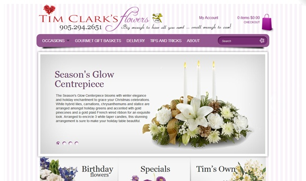 Tim Clark's Flowers website by Fusion Studios Inc.