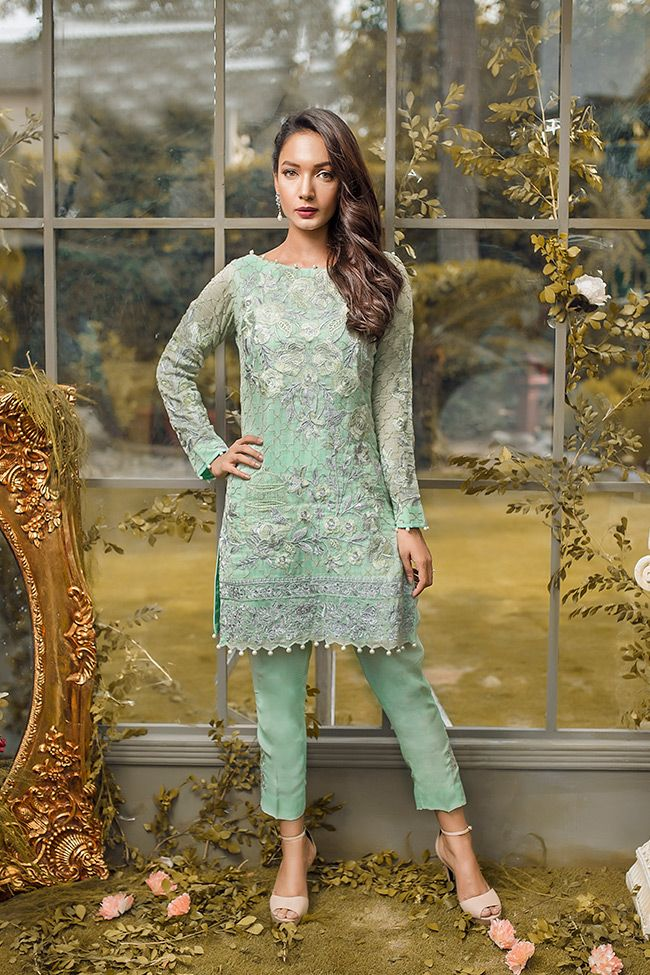 32d56a3827 Embroidered khadi net mint green Pakistani dress in 2 piece by Gulaal  Pakistani party dresses online | iWear | Dresses, Pakistani dresses, Party  dresses ...