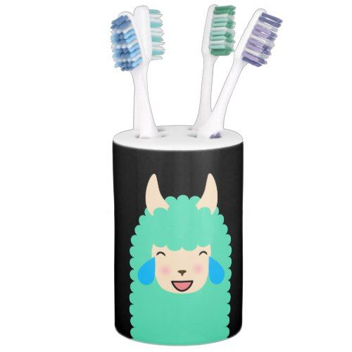 Llama Laughing Emoji Soap Dispenser And Toothbrush Holder