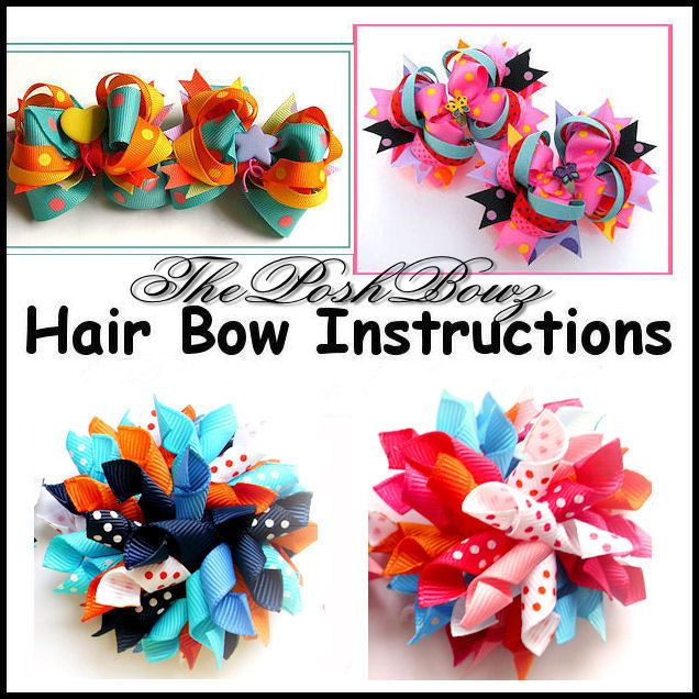 Free Homemade Hair Bows Instructions | Hair Bow Tutorials and Korker Bows COMBO Pack / Instant Download ...