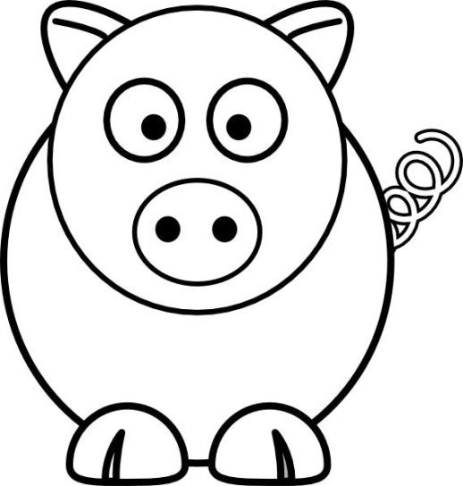 Simple pig coloring pages preschool art basics for Pig template for preschoolers