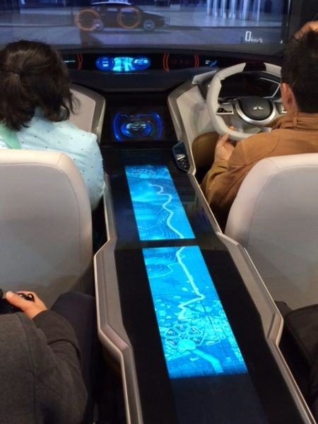 Large format multi-touch technology demonstrated by Mitsubishi in their Grand Cruiser SV concept car at 2013 Tokyo Motor Show. (VIDEO) Futuristic Car