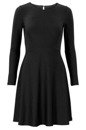 Soepele a-lijn jurk met lange mouwen Zwart