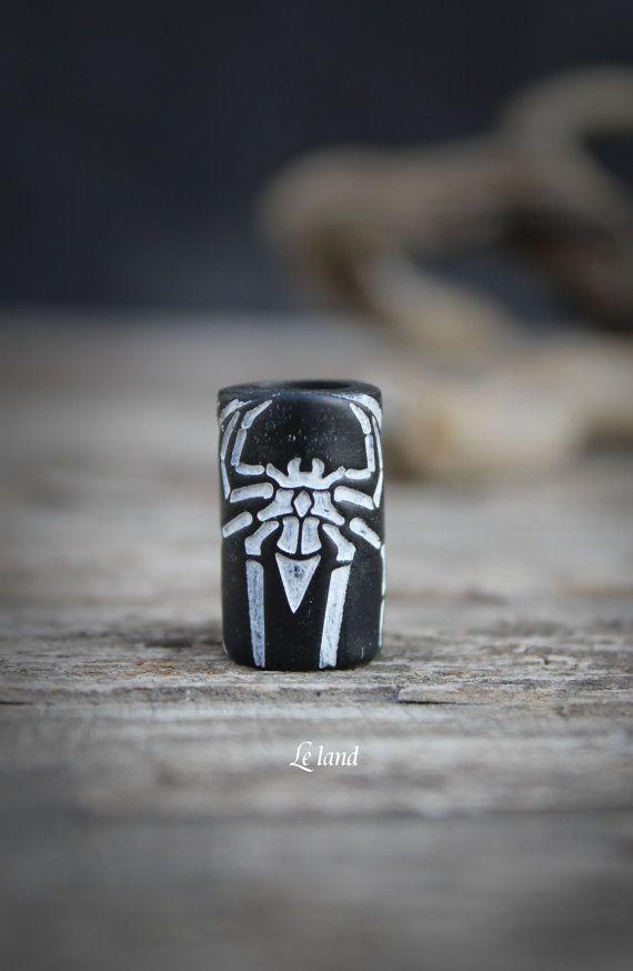 Granos de dreadlock araña dread accesorios hombres Loc joyería negro dread dreadlocks granos puño accesorio de dreadlock de perlas de joyería pavor polímero arcilla