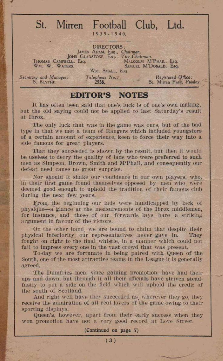 St. Mirren v Queen Of The South 1939