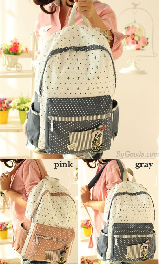 So so cute anchor backpack !! Leisure College Anchor Dot Pattern Schoolbag Backpack #anchor #dot #backpack #school #bag