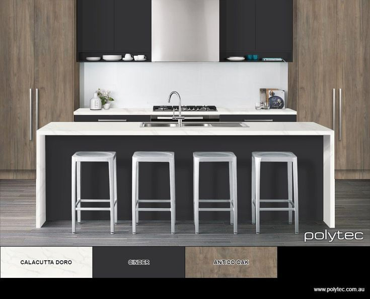 Modern Australian kitchen design in Anitco Woodmatt and Cinder Matt doors with a Calacutta Doro Matera benchtop by polytec.