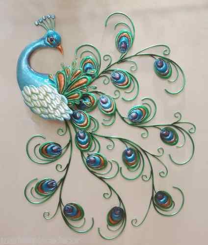 Art Décor: Pretty Peacock Wall Art Decor Metal Colorful Hanging Bird