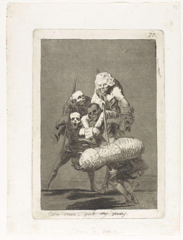 Francisco José de Goya y Lucientes | De een tegen de ander, Francisco José de Goya y Lucientes, 1797 - 1799 | Een man vermomd als stier, wordt aangevallen door twee mannen met lansen. Zij rijden als picadors op de ruggen van twee andere mannen.