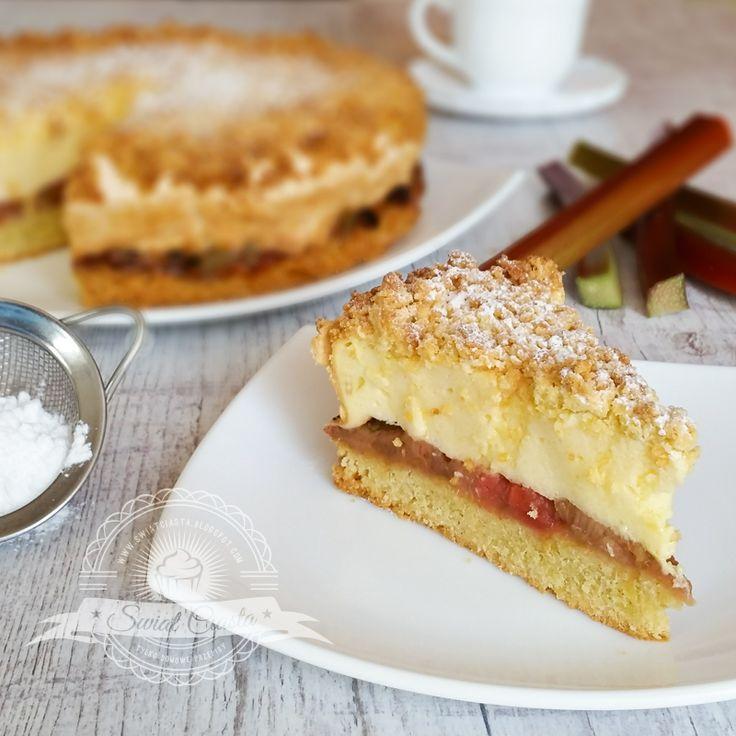 Ciasto z rabarbarem i pianką budyniową | Świat Ciasta