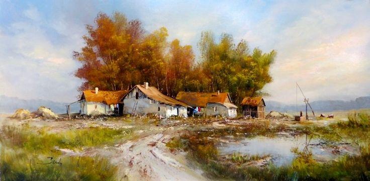 Benda Zoltán Hortobagyi tanya 55x110 cm olajfestmény