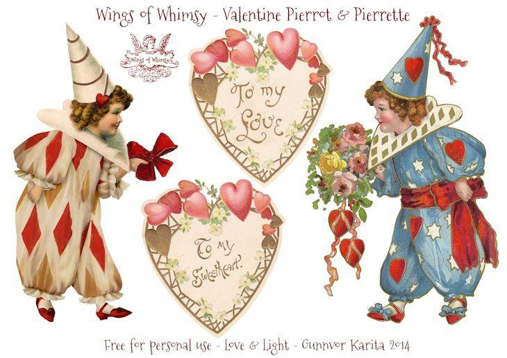 Wings of Whimsy: Vintage Valentine Pierrots & Pierrettes - DAY 1 - free for personal  use #vintage #ephemera #printable #freebie