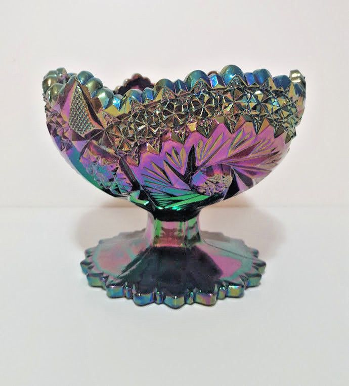 Imperial Carnival Green Pansy Glass Candy Dish Bowls Set of 2 Vintage