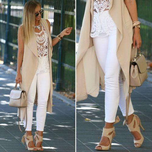 long beige vest, lace top classy fashion- Neutral blush and nudes outfit ideas http://www.justtrendygirls.com/neutral-blush-and-nudes-outfit-ideas/