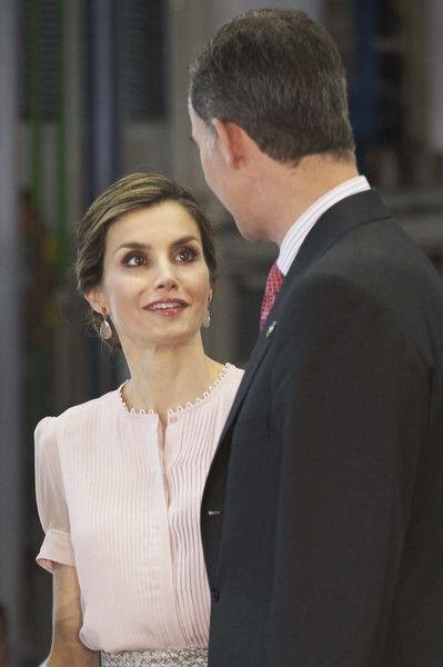 King Felipe VI of Spain and Queen Letizia of Spain visit Volkswagen Factory on Its 50th anniversary on June 29, 2016 in Navarra, Spain.