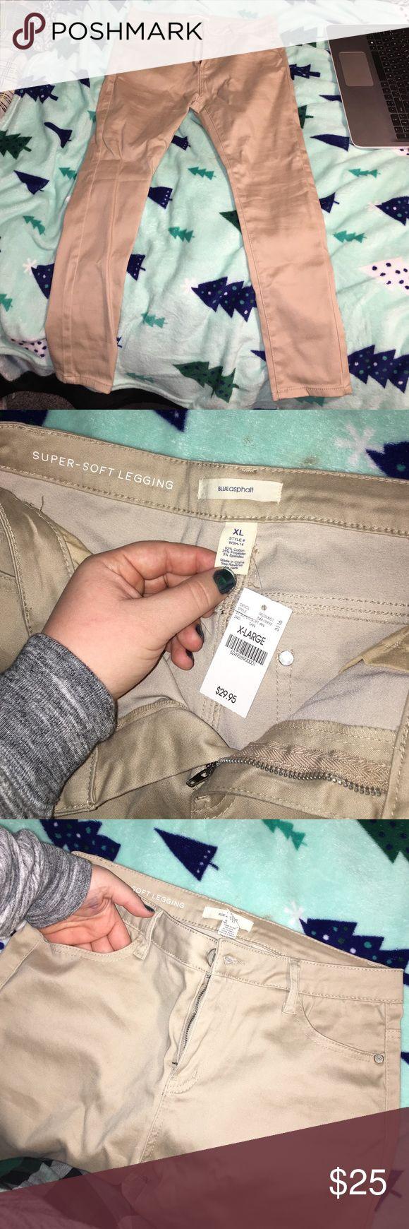 "Khaki leggings (pants) Khaki ""leggings"" • super soft • never worn • has front & back pockets • stretchy and fits large & XL Blue Asphalt Pants"