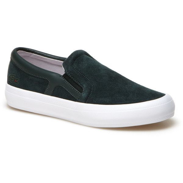 Lacoste LIVE Slip-on René Chunky suede leather sneakers found on Polyvore featuring polyvore, fashion, shoes, sneakers, lacoste live lacoste live, shoes shoes, white sneakers, chunky shoes, lacoste shoes and white slip on shoes
