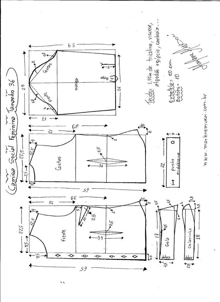 Esquema de modelagem de Camisa Social Feminina tamanho 36.